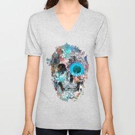 floral skull 3 Unisex V-Neck