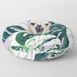 Llama with Variegated Monstera albo #1 Floor Pillow