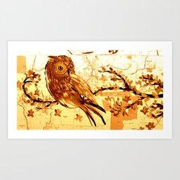 Owl on maps Art Print