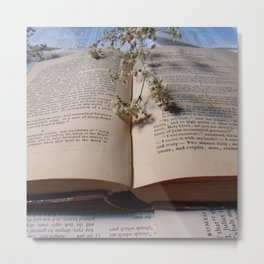 Jump into an open book Metal Print