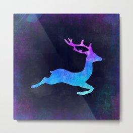 DEER LEAPING IN SPACE // Animal Graphic Art // Watercolor Canvas Painting // Modern Minimal Cute Metal Print
