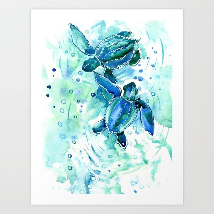 Turquoise Blue Sea Turtles in Ocean Kunstdrucke