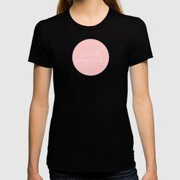 Leo Star Sign Soft Pink Circle T-shirt