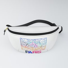 Paris Watercolor Street Map Fanny Pack