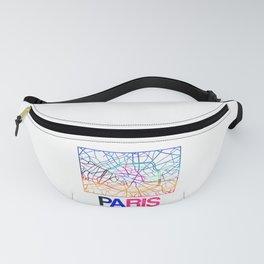Paris Watercolor Street Map Fanny Pack