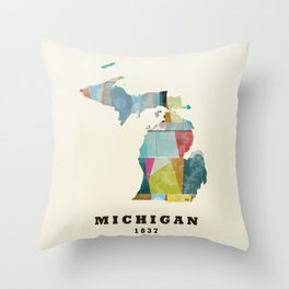 Michigan  state map modern Throw Pillow