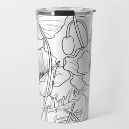 Poppies Line Drawing Travel Mug