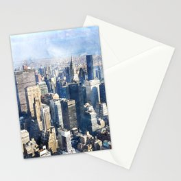 New York City, Manhattan Watercolor Cityscape Stationery Cards