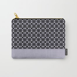 Black Square Petals Graphic Design Pattern on PPG Wild Lilac Carry-All Pouch