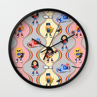 girl power Wall Clocks featuring Girl Power by Vannina