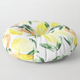 Sicilian orchard: lemons and oranges in watercolor, summer citrus Floor Pillow