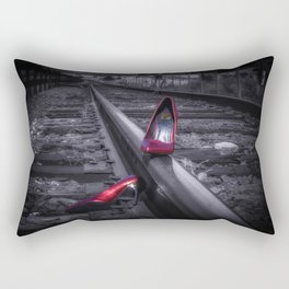 leaving Tracks red high heel shoes on the railroad tracks Rectangular Pillow