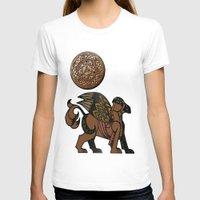 mythology T-shirts featuring Gryphon New Age Mythology Folk Art by BohemianBound