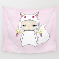 madoka magica Wall Tapestries featuring A Boy - Kyubey by Christophe Chiozzi