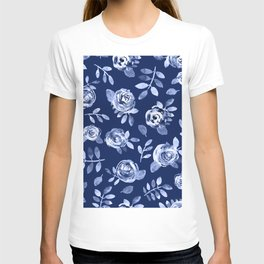 Hand painted navy blue white watercolor floral roses pattern T-shirt