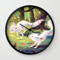 okami Wall Clocks featuring Follow Me by Freeminds