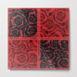 Patchwork . Roses are red. Metal Print
