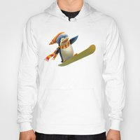 snowboard Hoodies featuring Funny Mr. Penguin riding snowboard by pakowacz