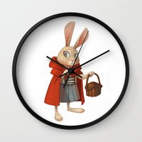 red riding hood Wall Clocks featuring Little Red Riding Hood by Alyssa Tallent