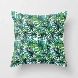 Elephant Tropical Leaves Pattern Throw Pillow
