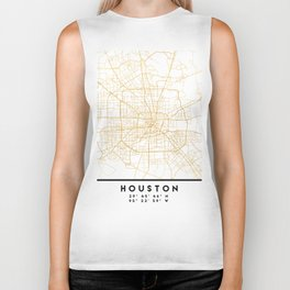 HOUSTON TEXAS CITY STREET MAP ART Biker Tank