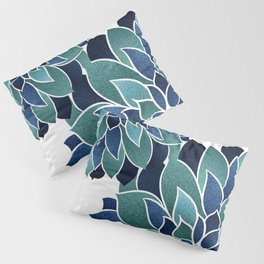 Festive, Floral Prints, Navy Blue and Teal on White Pillow Sham