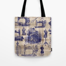 Vintage Sewing Toile Tote Bag