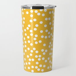 Mustard Yellow and White Polka Dot Pattern Travel Mug