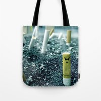 cigarette Tote Bags featuring Zombie Cigarette by Julianne Christoffel