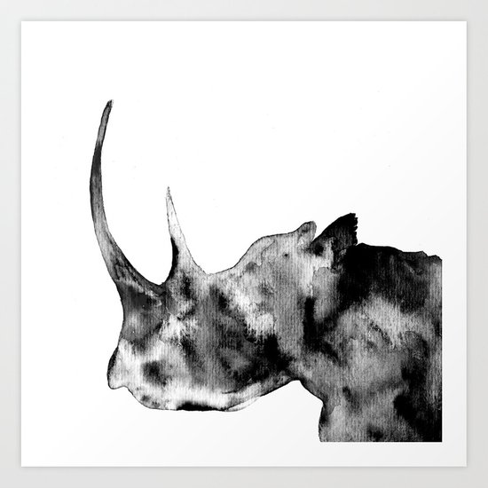 Rhinoceros, black and white Art Print