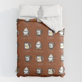 Hot Drinks (Brown) Comforters