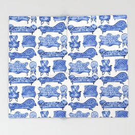 Victorian Lounge – Navy Palette Throw Blanket
