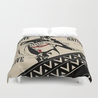 native american Duvet Covers featuring Native by memo_alatouly