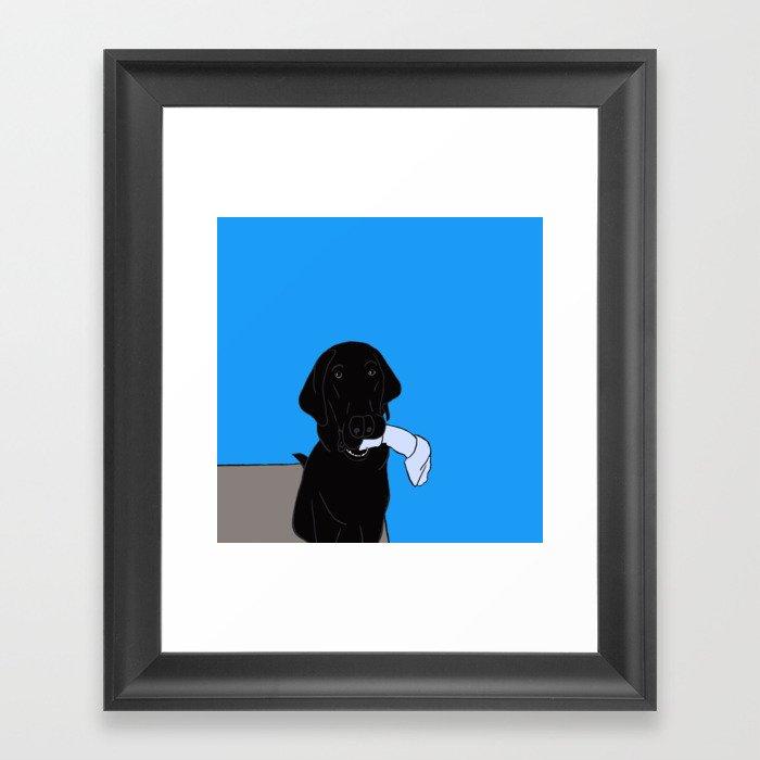 Black Lab With A Bone Framed Art Print