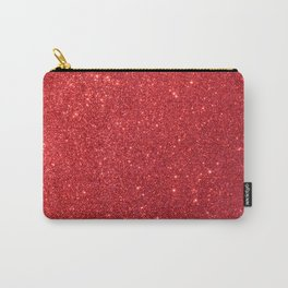Soft Red Sparkly Valentine Sweetheart Glitter Carry-All Pouch