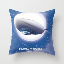 Travel the World - go by airship Throw Pillow