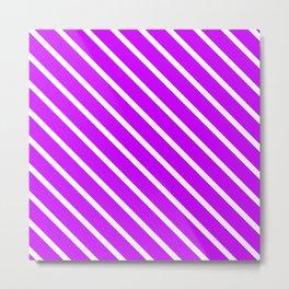 Neon Purple Diagonal Stripes Metal Print