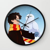 hedwig Wall Clocks featuring Harry and Hedwig by AnimonInk