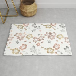 Rose Gold Copper Bronze Tropical Flowers Multi Metallic Rug