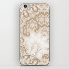 Butterfly on mandala in iced coffee tones iPhone Skin