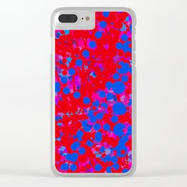 blue on red, circles Clear iPhone Case