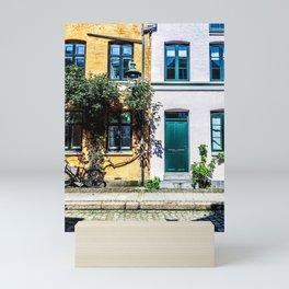 Danish Building Facades in Colourful Sunny Copenhagen Mini Art Print