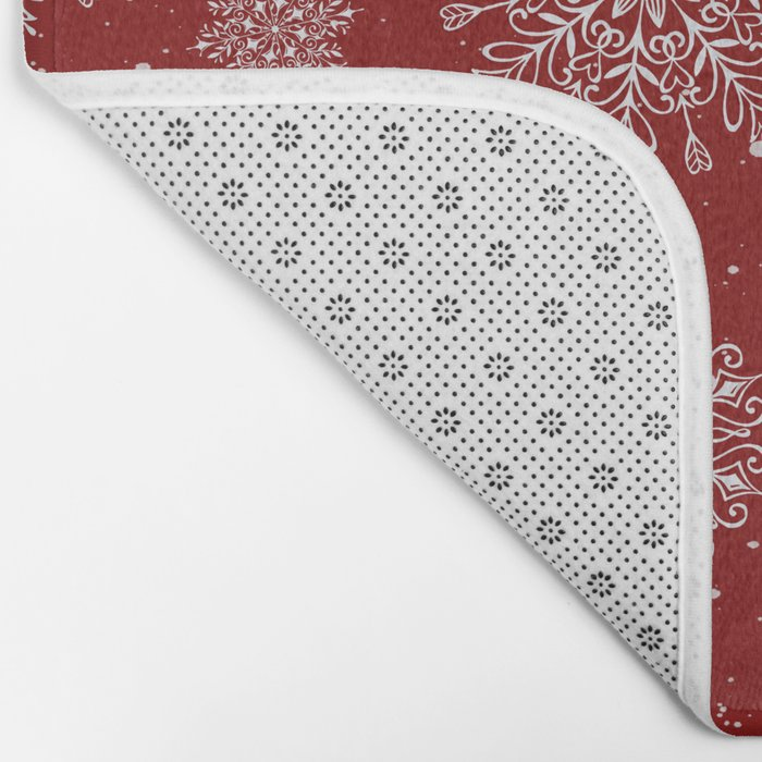 Assorted White Snowflakes On Red Background Bath Mat