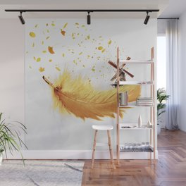 Air Feather • Yellow Feather (horizontal) Wall Mural