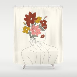 Colorful Thoughts Minimal Line Art Woman with Magnolia Shower Curtain