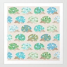 Hedgehog polkadot in green and blue Art Print