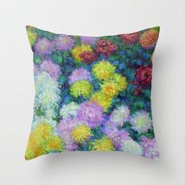 "Claude Monet ""Chrysanthemums"", 1897 Throw Pillow"