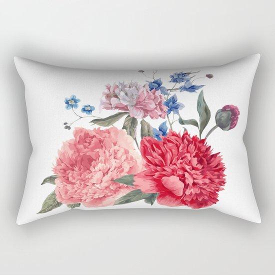 Beautiful PINK, ROSE AND BLUE - Jersey Beauty Flower Rectangular Pillow