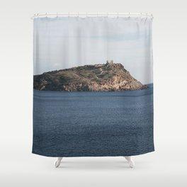 Greek seascape - landscape photography poster - Cape Sounio - Greece Shower Curtain