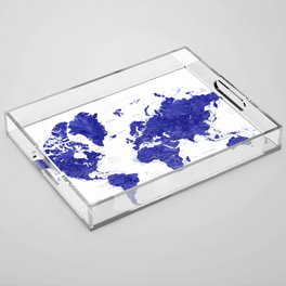 """Navy blue watercolor world map with cities, """"Ronnie"""" Acrylic Tray"""